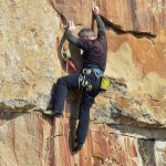 Climber on a hard sports climb.