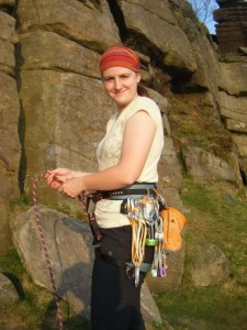 Heather Hartin about to climb at The Peak, England.