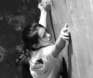 Robyn pushing her bouldering!