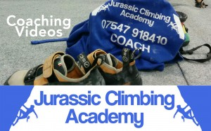 Photo showing climbing shoes and coaches hoodie with the words Coaching Videos