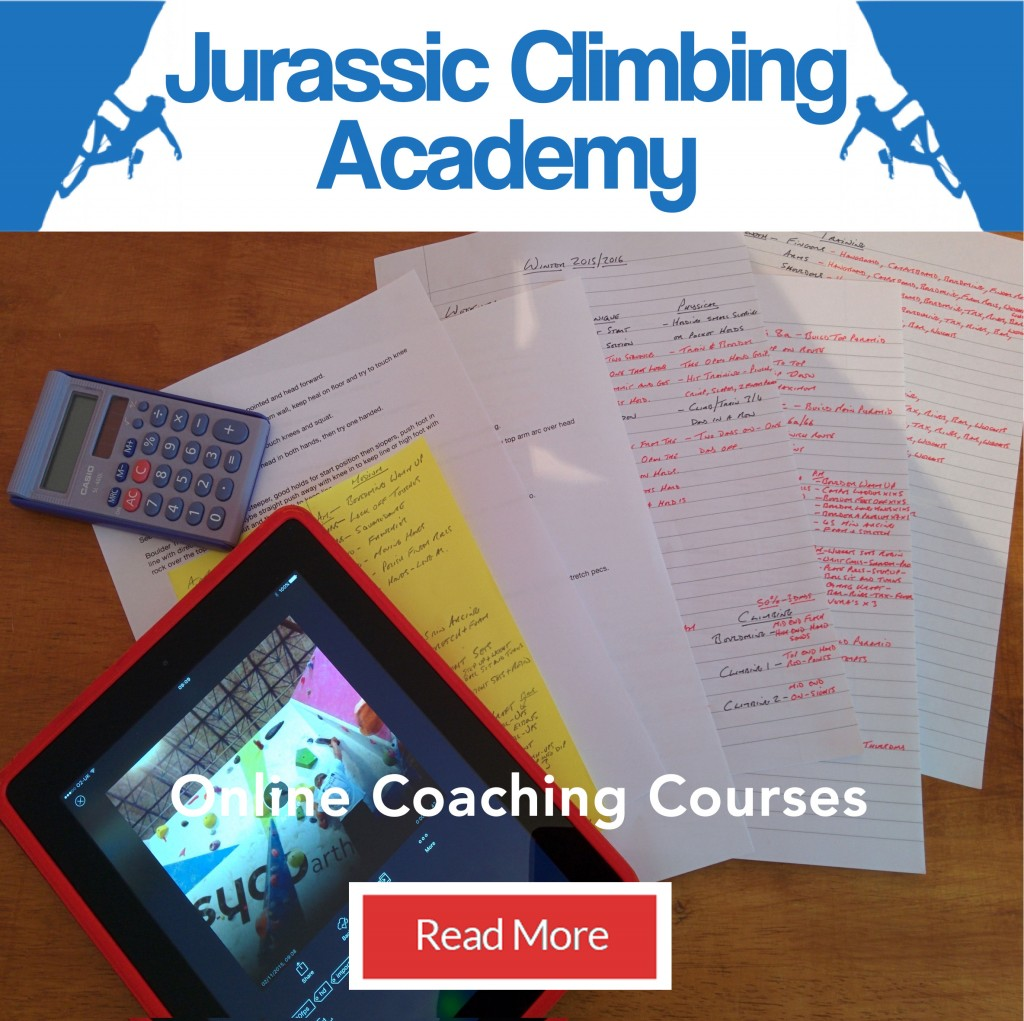 Jurassic Climbing Academy Online Coaching Advert with training plans on a desk.