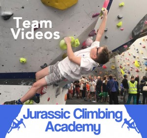 Photo showing a young climber reaching on a climbing problem with the words Team Videos