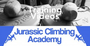 Photo of climber training weights and the words Training Videos