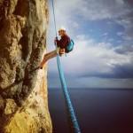 Costa Blanca Climbing Trip - Georgie abseiling on Penon de Ifach